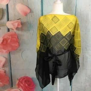 Paper Tee Boat Neck Kimono Top Size S Yellow Black